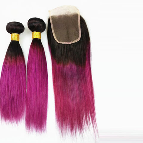 "Peruvian Straight Ombre 1B Fuschia 12""+14""+16""+18""+ Lace Closure 10"" Bundle"