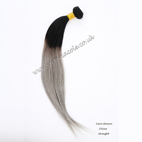 "18"" 1B/Grey Ombre Straight 8A Grade Virgin Hair"