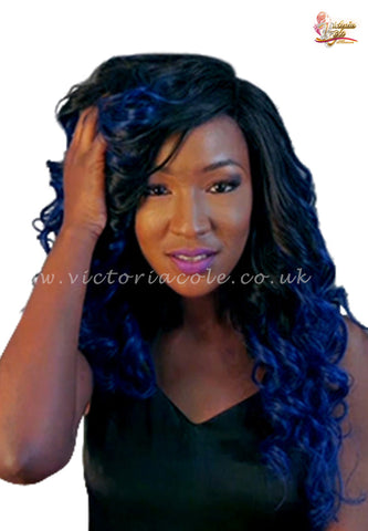 "10"" 1B Royal Blue Ombre Straight 7A Grade Virgin Hair"