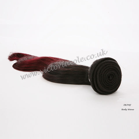 "Peruvian body wave ombre 1B/99J dark red 8"" Virgin Hair Extensions"