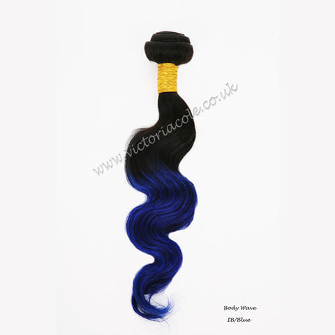"Peruvian body wave ombre 1B/99J Royal blue 12"" Virgin Hair Extensions"