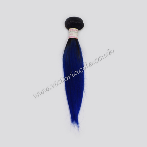 "16"" 1B Royal Blue Ombre Straight 7A Grade Virgin Hair"
