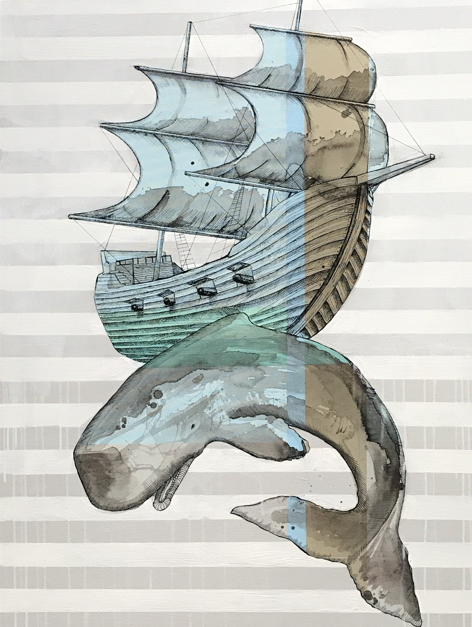 "Whale under Ship 30""x40"""