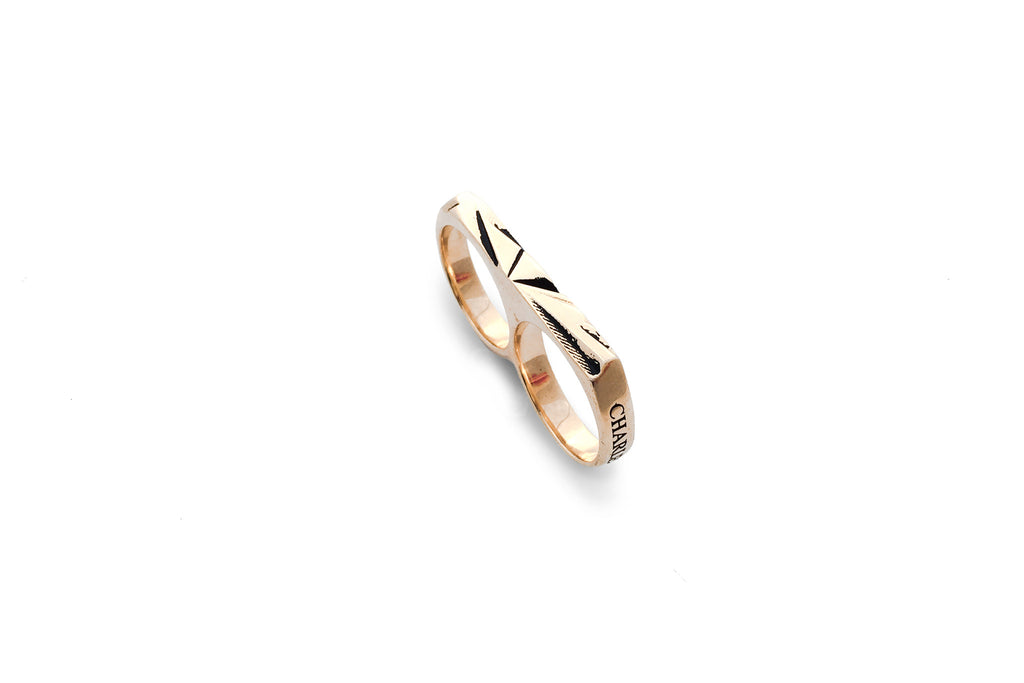 Facettes Double Finger Ring
