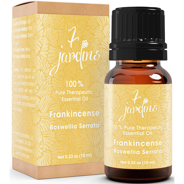 7 Jardins Premium Frankincense 100% Pure & Natural Therapeutic Grade Essential Oil. Olibanum 10 ml - For Aromatherapy, Anti Aging, Reducing Inflammation, Arthritic Pain & Scar Tissue - Mediderm - 1