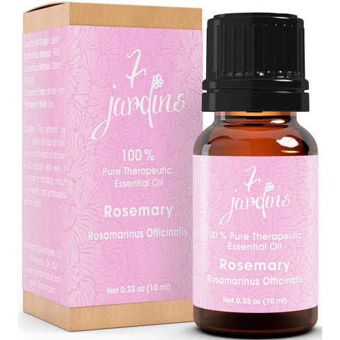 7 Jardins Premium Rosemary 100% Pure & Natural Therapeutic Grade Essential Oil. 10 ml - Rosmarinus Officinalis - For Aromatherapy, Hair Care, Improves Memory & Mental Clarity for Men & Women - Mediderm - 1
