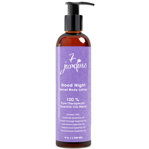7 Jardins Good Night Velvet Body Lotion - Daily Body Moisturizer for All Skin Types Enriched with Lavender, Sweet Orange, Geranium, Cedarwood & Frankincense Essential Oils - 100% Safe & Sulfate Free - Mediderm - 1