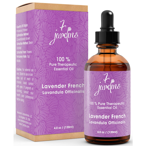 "7 Jardins Massage & Skin Treatment Oil ★100% Pure Therapeutic Essential Oil Pure Lavender French ""Lavandula Officinalis"" (120 ml) ★Enriched with Plant Based Natural Ingredients - Mediderm - 1"