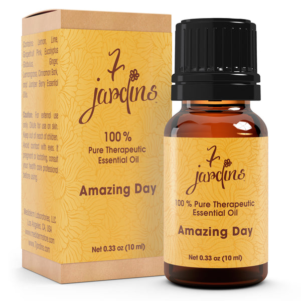 "7 Jardins Natural Brain Energizer  ★100% Pure Therapeutic Essential Oil ""Amazing Day"" (10 ml) ★Stimulate Brain Activity & Memory ★Enriched with Plant Based Natural Ingredients - Mediderm - 1"