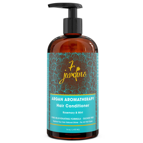7 Jardins Premium Argan Natural Aromatherapy Conditioner - 16 oz - Best Treatment for Damaged & Dry Hair with Therapeutic Essential Oils - 100% Safe, Paraben & Cruelty Free for All Hair Types - Mediderm - 1