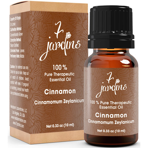 7 Jardins Cinnamon Therapeutic Grade Essential Oil - Cinnamomum Zeylanicum 100 % Pure, Natural, Never Diluted, No Fillers Added.