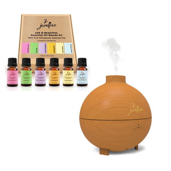 GoodVara Life Is Beautiful Aromatherapy Diffuser And Essential Oil Blends Gift Set
