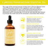 7 Jardins Premium Frankincense 100% Pure & Natural Therapeutic Grade Essential Oil. Olibanum 120 ml - For Aromatherapy, Anti Aging, Reducing Inflammation, Arthritic Pain & Scar Tissue - Mediderm - 5