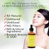 "7 Jardins Antibacterial & Antiseptic Lemongrass Therapeutic Essential Oil  ★100% Pure ""Cymbopogon Flexuosus"" (120 ml) ★Relieves Stress, Strengthen Hair & Heals Skin ★Enriched with Plant Based Natural Ingredients - Mediderm - 5"