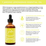 "7 Jardins Antibacterial & Antiseptic Lemongrass Therapeutic Essential Oil  ★100% Pure ""Cymbopogon Flexuosus"" (120 ml) ★Relieves Stress, Strengthen Hair & Heals Skin ★Enriched with Plant Based Natural Ingredients - Mediderm - 6"