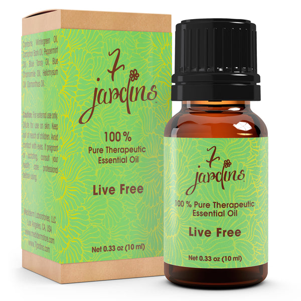"7 Jardins Pain Relief Oil ★100% Pure Therapeutic Essential Oil ""Live Free"" (10 ml) ★Alleviates Muscle Aches ★Enriched with Plant Based Natural Ingredients - Mediderm - 1"