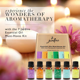 "7 Jardins ""Must-Haves"" Top 6 Essential Oils Aromatherapy Kit 100% Pure & Therapeutic Grade 10ml - Beginner Sampler Gift Set (Lavender French, Sweet Orange, Tea Tree, Eucalyptus, Peppermint & Lemongrass) - Mediderm - 2"