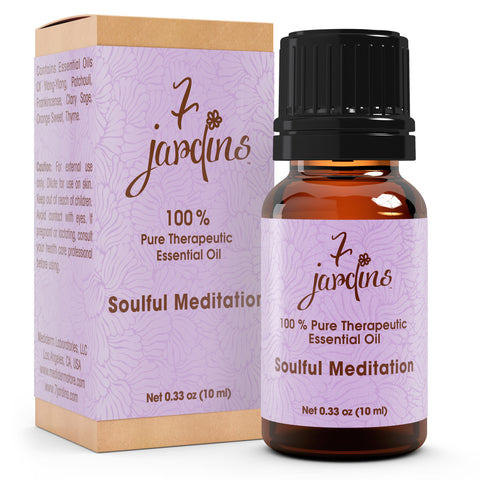 "7 Jardins Soul Meditation Synergy Blender ★100% Pure Therapeutic Essential Oil ""Soulful Meditation""  (10 ml) ★Enhances your Meditation Experience ★Enriched with Plant Based Natural Ingredients - Mediderm - 1"