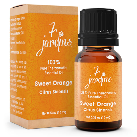 "7 Jardins Immunity Booster Therapeutic Essential Oil ★100% Pure Sweet Orange ""Citrus Sinensis"" (10 ml) ★Enhances Your Mood ★Protects & Heals Skin ★Enriched with Plant Based Natural Ingredients - Mediderm - 1"