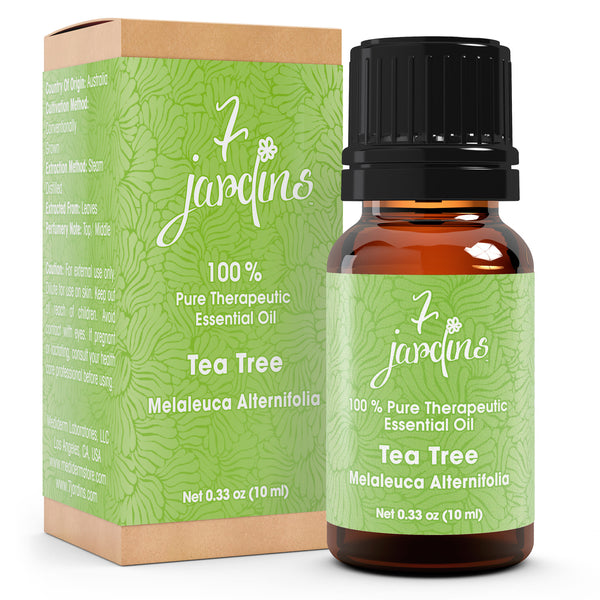 "7 Jardins Skin Ailment Therapeutic Essential Oil ★100% Pure Tea Tree ""Melaleuca Alternifolia"" (10 ml) ★Becteria & Mold Killer ★Boosts Immunity & Clear your Mind ★Enriched with Plant Based Natural Ingredients - Mediderm - 1"