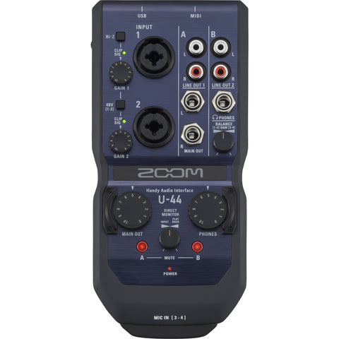 Zoom U-44 Handy 4-In/4-Out Audio Interface + Pro Tools | First
