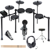 Alesis Nitro Drum Kit, 8-Piece Electronic Kit with Drum Module + Throne + Samson Headphones + Extra paid of Sticks
