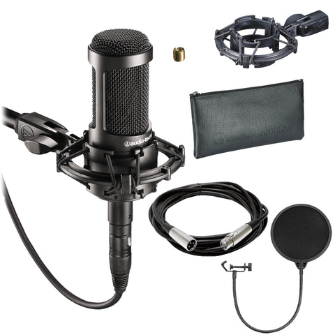 Audio-Technica AT2035 Cardioid Condenser Microphone + Pop Filter + 10 Ft XLR-XLR Cable