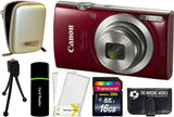 Canon PowerShot ELPH 190 Digital Camera (Red) + 16 GB & Accessory Bundle