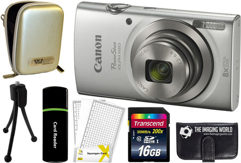 Canon PowerShot ELPH 180 Digital Camera (Silver) + 16 GB & Accessory Bundle