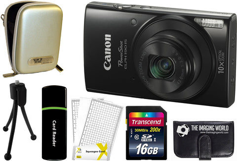 Canon PowerShot ELPH 190 IS Digital Camera (Black) + 16 GB & Accessory Bundle