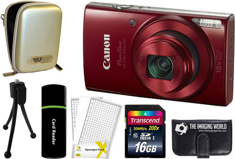 Canon PowerShot ELPH 190 IS Digital Camera (Red) + 16 GB & Accessory Bundle
