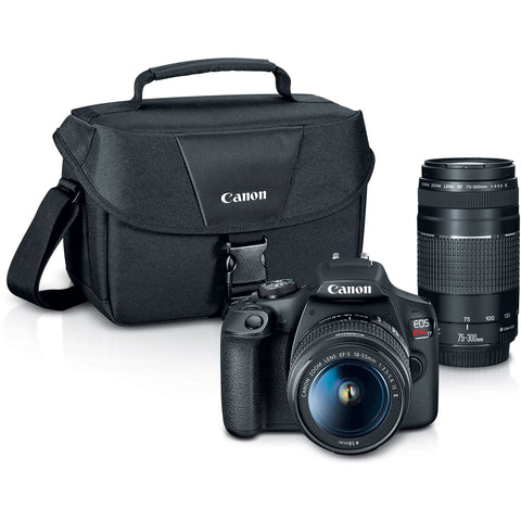 Canon EOS Rebel T7 DSLR Camera with 18-55mm and 75-300mm Lenses + EOS Shoulder Bag