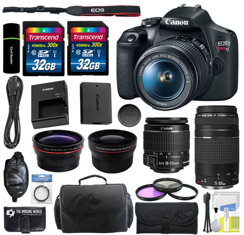 Canon EOS Rebel T7 DSLR Camera with 18-55mm and 75-300mm Lenses + 64GB Memory + Accessories Bundle