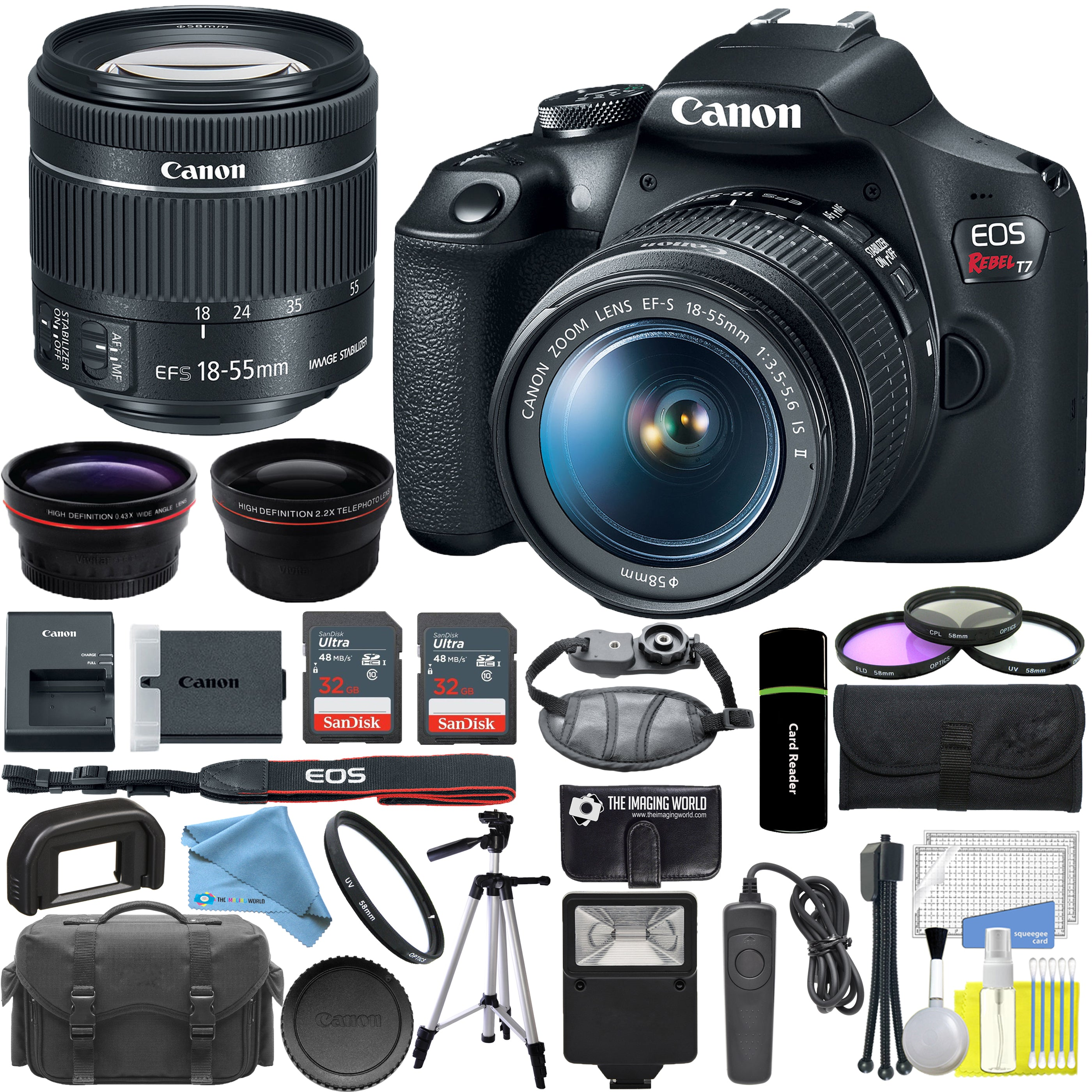 Details About Canon Eos Rebel T7 Dslr Camera With 18 55mm Lens Professional Bundle