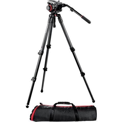 Manfrotto 504HD Video Fluid Head & 535 3-Section Carbon Fiber Tripod Kit - Rental