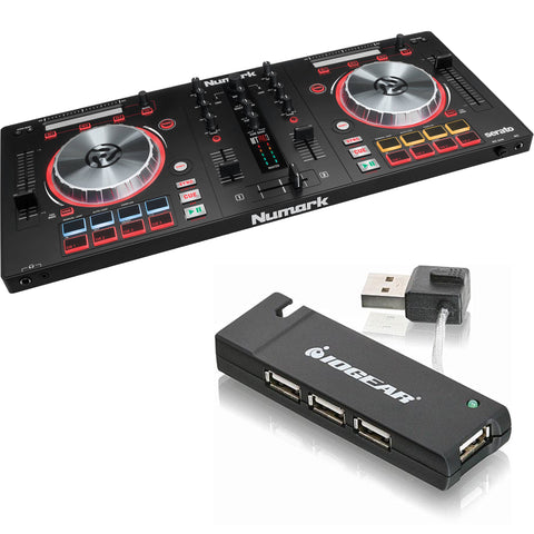 Numark Mixtrack Pro 3 - DJ Controller for Serato DJ with Integrated Sound Card (Black) + 4 Port USB Hub