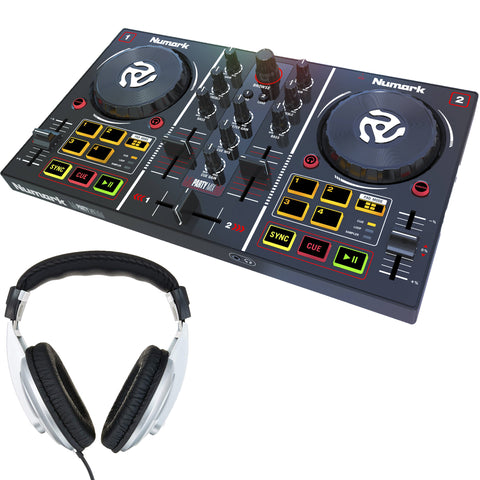 Numark Party Mix DJ Controller with Built-In Light Show + Headphones