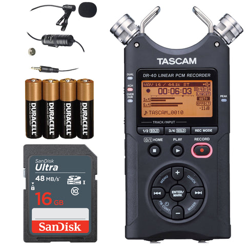 Tascam DR-40 4-Track Handheld Digital Audio Recorder (Black) + Lavalier Mic + Sandisk 16 GB SDHC Memory Card + Extra Pack of 4 AA Batteries