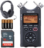 Tascam DR-40 4-Track Handheld Digital Audio Recorder (Black) + Samson SR350 Headphne + Sandisk 16 GB SDHC Memory Card + Extra Pack of 4 AA Batteries