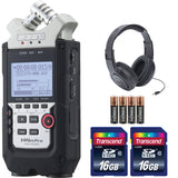 Zoom H4n Pro 4-Channel Handy Recorder + Headphones + Batteries + 32 Gb Memory