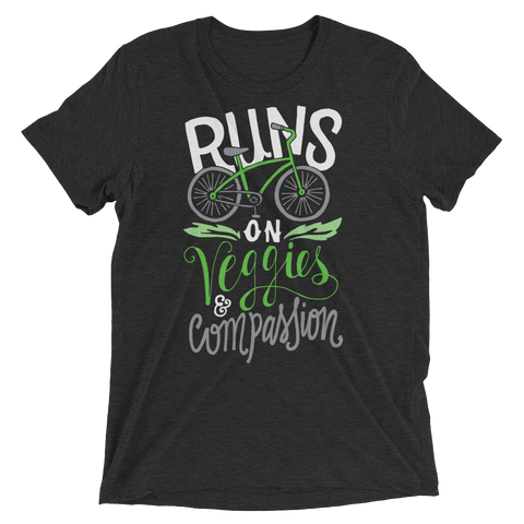Runs on veggies and compassion t-shirt by The Dharma Store