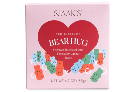 """Bear Hug"" Dark Chocolate Heart Filled with Gummies"