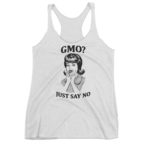 Vegan Tank Top - GMO? Just Say NO - Heather White