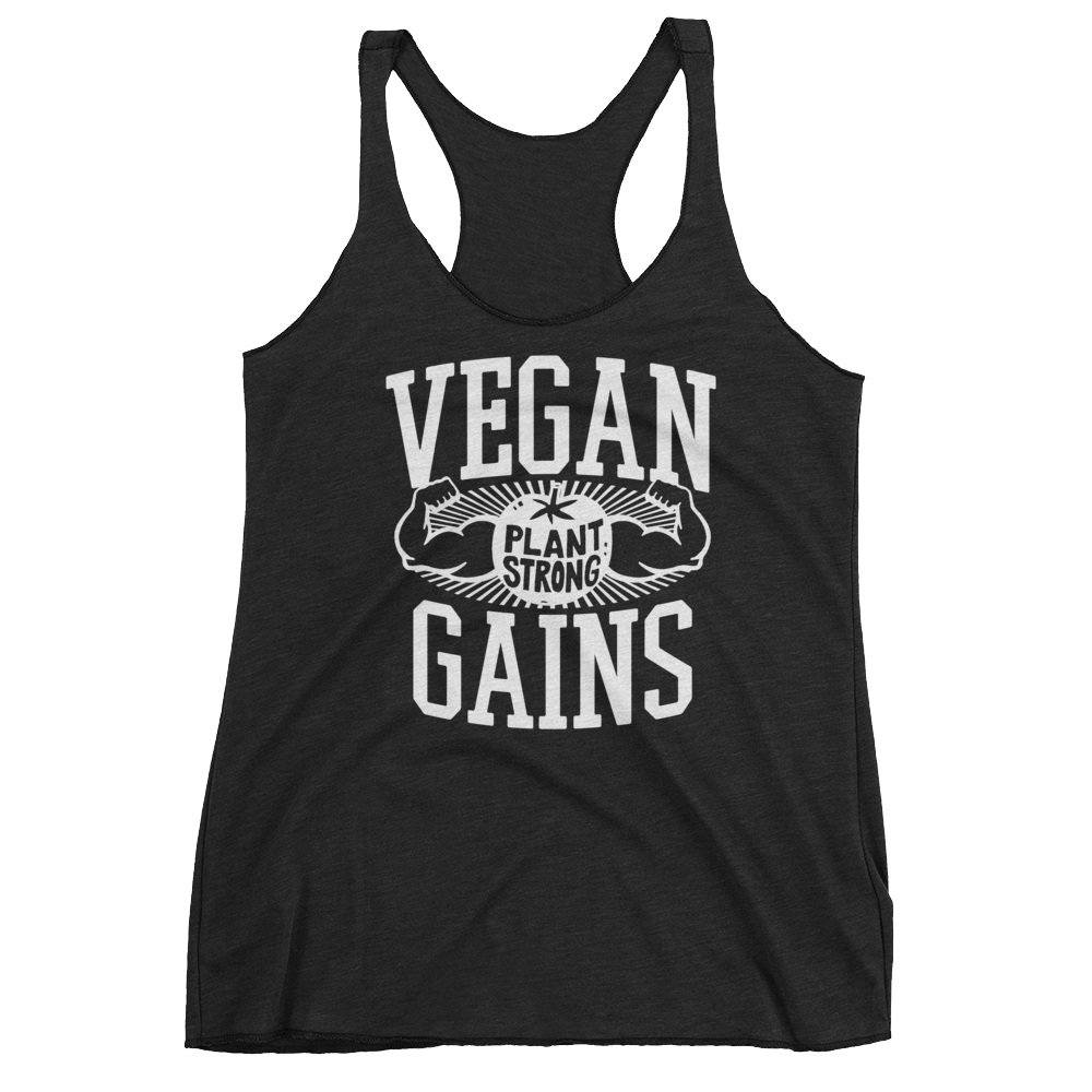 Vegan Tank Top - Vegan Gains - Vintage Black