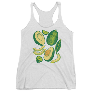 Vegan Tank Top - Avocados - Heather White