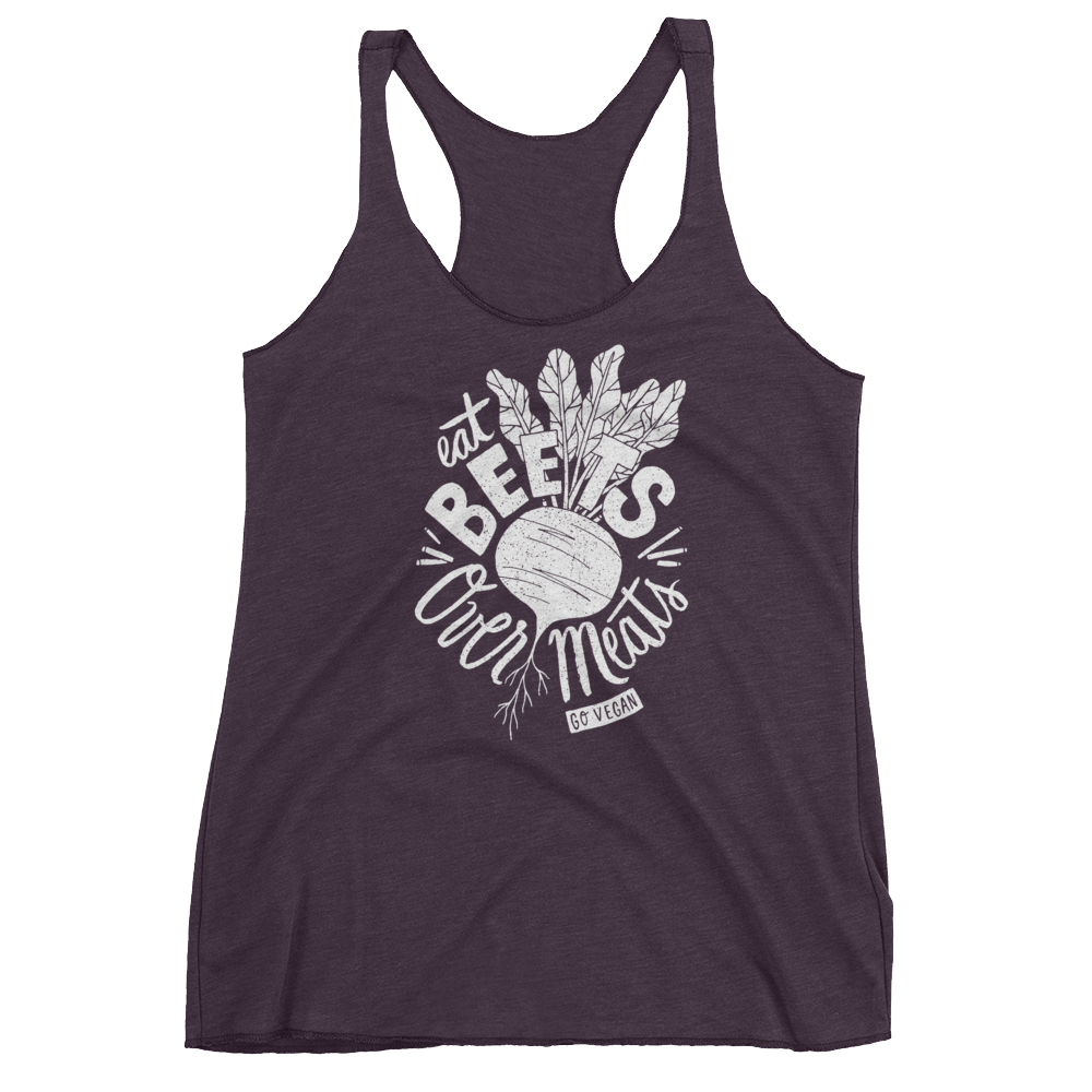 Vegan Tank Top - Eat Beets Over Meats - Vintage Purple