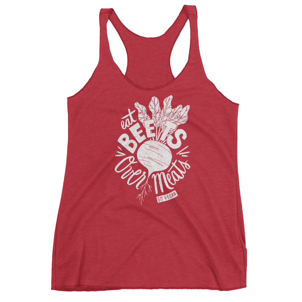 Vegan Tank Top - Eat Beets Over Meats - Vintage Red