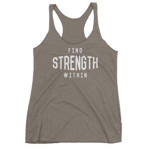 Vegan Yoga Tank Top - Find Strength Within - Venetian Grey