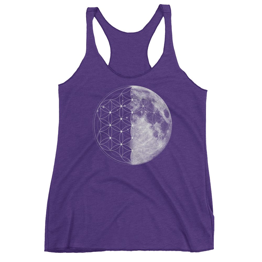 Sacred Geometry Tank Top - Flower Of Life Moon - Purple Rush