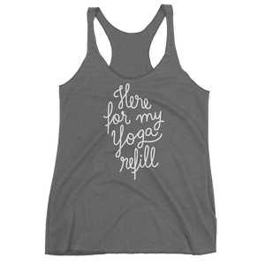 Vegan Yoga Tank Top - Here for my yoga refill - Premium Heather